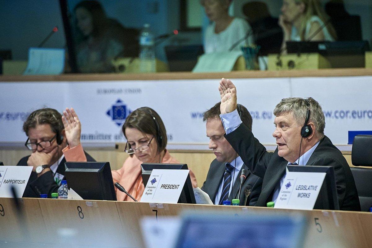Staatssekretärin Dr. Babette Winter sitzt im Ausschuss der Regionen und hebt ihre Hand.
